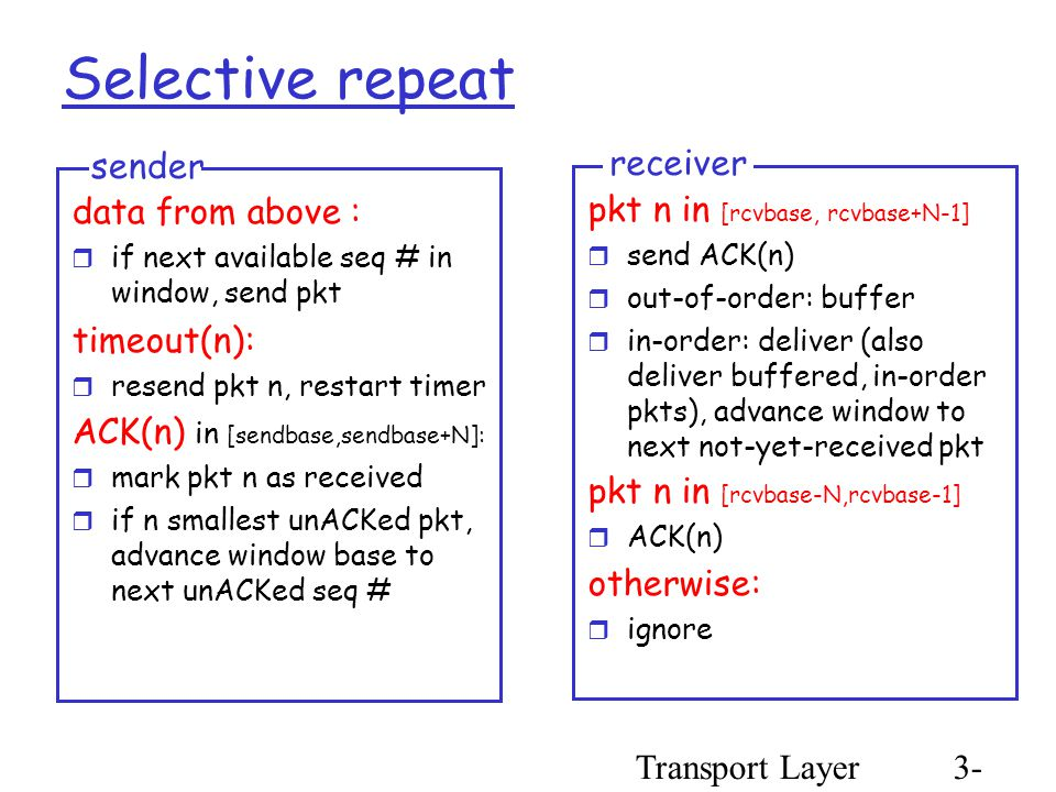 Transport Layer3- 51 Selective repeat data from above :  if next available seq # in window, send pkt timeout(n):  resend pkt n, restart timer ACK(n) in [sendbase,sendbase+N]:  mark pkt n as received  if n smallest unACKed pkt, advance window base to next unACKed seq # sender pkt n in [rcvbase, rcvbase+N-1]  send ACK(n)  out-of-order: buffer  in-order: deliver (also deliver buffered, in-order pkts), advance window to next not-yet-received pkt pkt n in [rcvbase-N,rcvbase-1]  ACK(n) otherwise:  ignore receiver