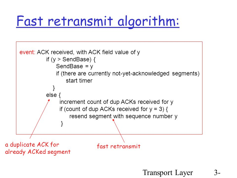 Transport Layer3- 70 event: ACK received, with ACK field value of y if (y > SendBase) { SendBase = y if (there are currently not-yet-acknowledged segments) start timer } else { increment count of dup ACKs received for y if (count of dup ACKs received for y = 3) { resend segment with sequence number y } Fast retransmit algorithm: a duplicate ACK for already ACKed segment fast retransmit