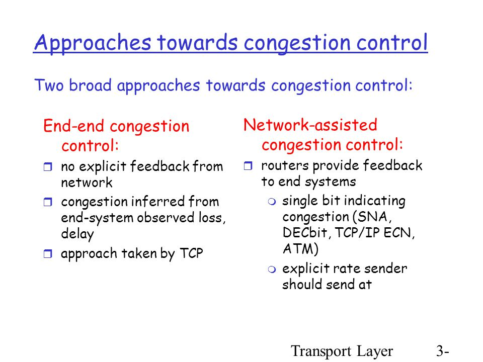 Transport Layer3- 86 Approaches towards congestion control End-end congestion control:  no explicit feedback from network  congestion inferred from end-system observed loss, delay  approach taken by TCP Network-assisted congestion control:  routers provide feedback to end systems  single bit indicating congestion (SNA, DECbit, TCP/IP ECN, ATM)  explicit rate sender should send at Two broad approaches towards congestion control: