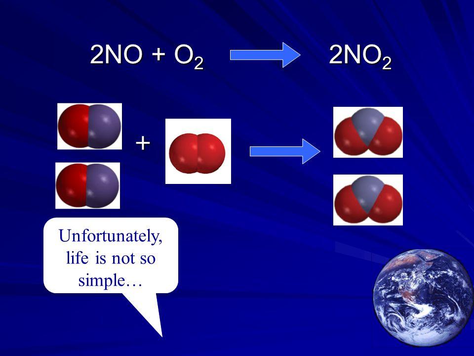 2NO + O 2 2NO 2 2NO + O 2 2NO 2 Unfortunately, life is not so simple… +