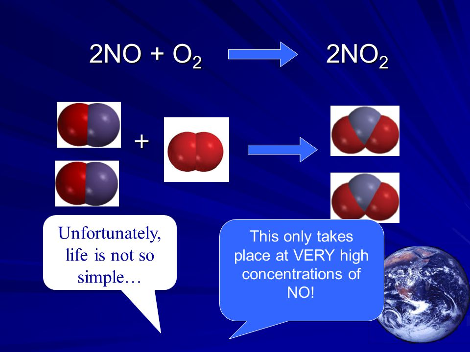 2NO + O 2 2NO 2 2NO + O 2 2NO 2 Unfortunately, life is not so simple… + This only takes place at VERY high concentrations of NO!