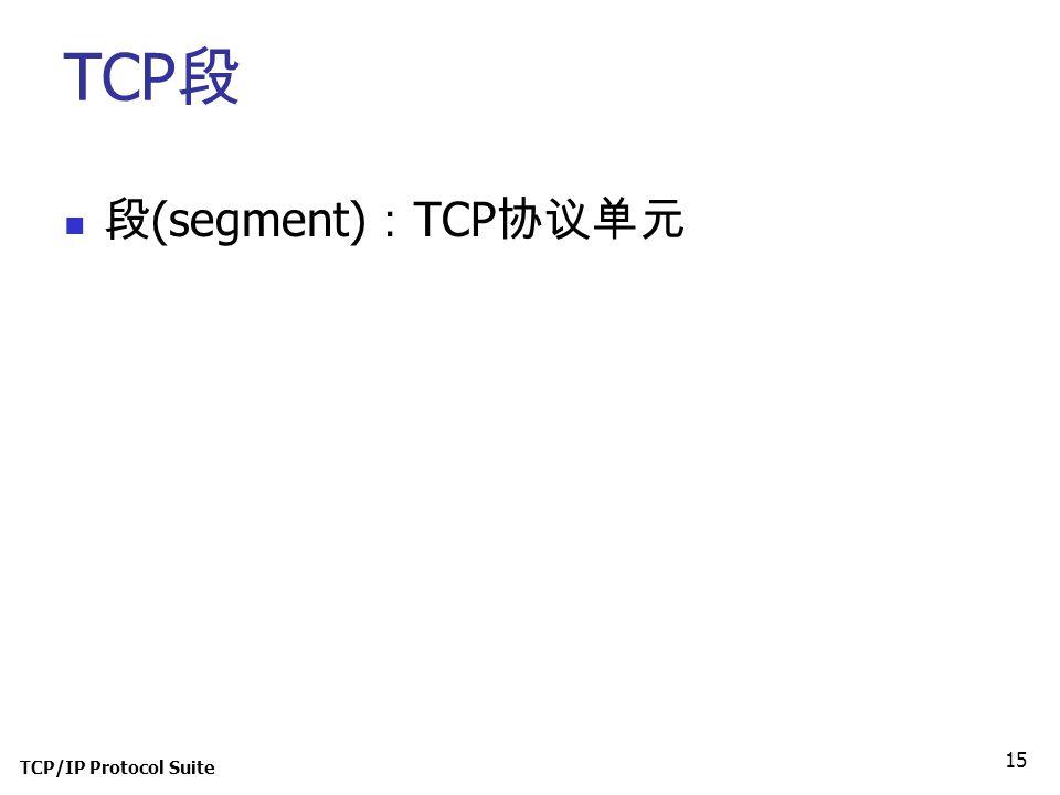TCP/IP Protocol Suite 15 TCP 段 段 (segment) : TCP 协议单元