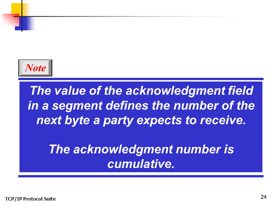 TCP/IP Protocol Suite 24 The value of the acknowledgment field in a segment defines the number of the next byte a party expects to receive. The acknow