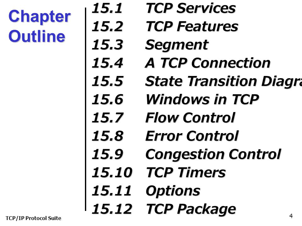 TCP/IP Protocol Suite 65 15-7 FLOW CONTROL As discussed in Chapter 13, flow control balances the rate a producer creates data with the rate a consumer can use the data.