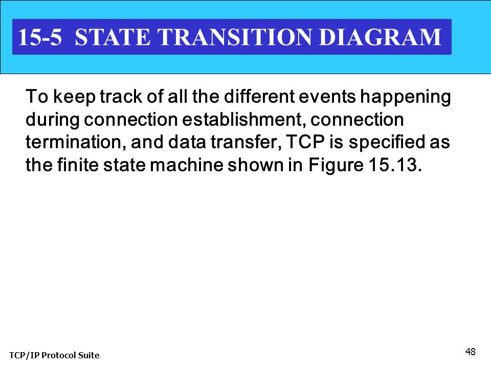 TCP/IP Protocol Suite 48 15-5 STATE TRANSITION DIAGRAM To keep track of all the different events happening during connection establishment, connection