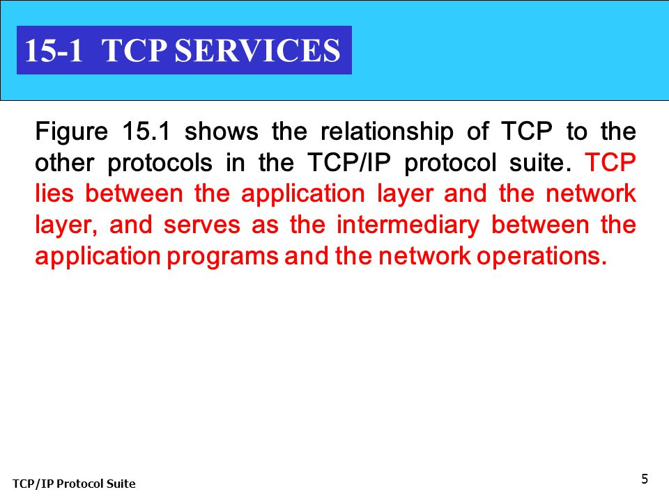 TCP/IP Protocol Suite 5 15-1 TCP SERVICES Figure 15.1 shows the relationship of TCP to the other protocols in the TCP/IP protocol suite. TCP lies betw