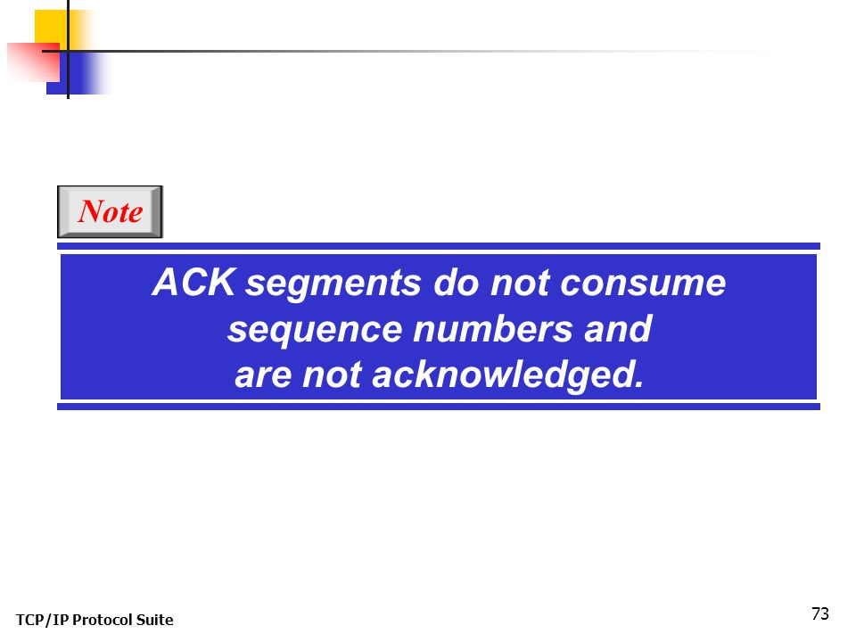 TCP/IP Protocol Suite 73 ACK segments do not consume sequence numbers and are not acknowledged. Note