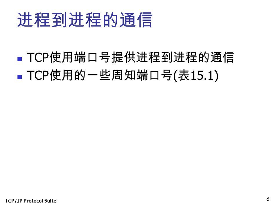 TCP/IP Protocol Suite 8 进程到进程的通信 TCP 使用端口号提供进程到进程的通信 TCP 使用的一些周知端口号 ( 表 15.1)