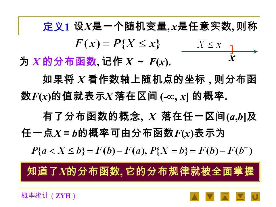 概率统计( ZYH ) 二、分布函数 在引入随机变量的概念后,任一事件都可用 随机变量 X 表示为 {X ∈ S} .而在实际问题中, S 往 往是由若干个诸如 (a, b] 的区间和点 X = b 构成的, 同时由于 所以, 只要我们把形如 {X≤x} 上的概率分布讨论清楚 了, 随机变量 X 的概率分布情况也就掌握了.