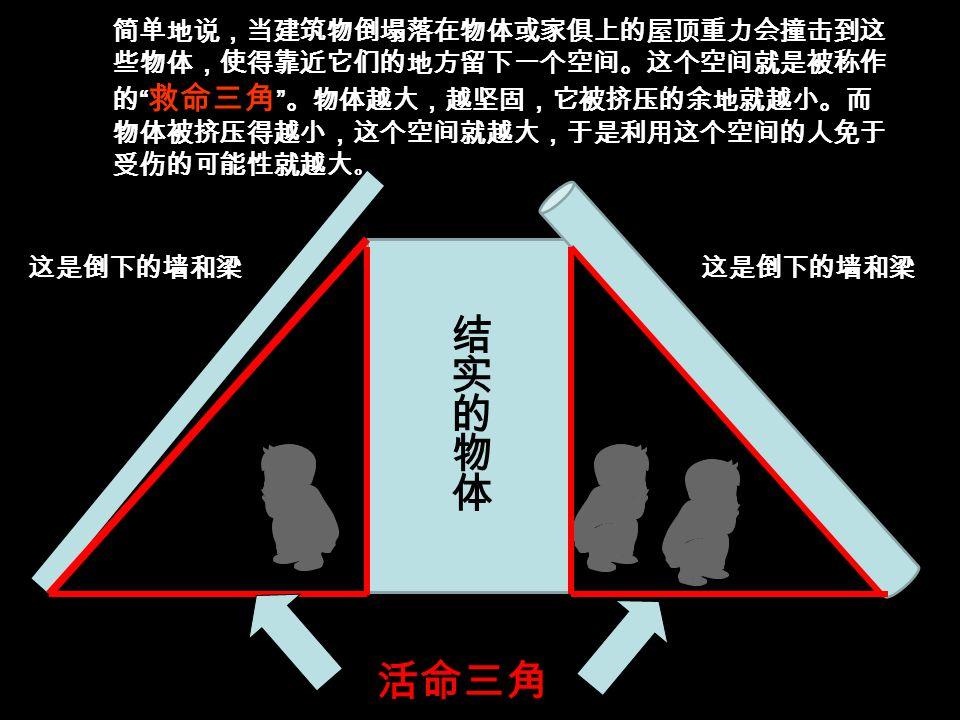 地震的活命三角形就 是发生地震时可以构 成空间去躲避的三角 区域 试问您可曾了解地震中的活命三角形