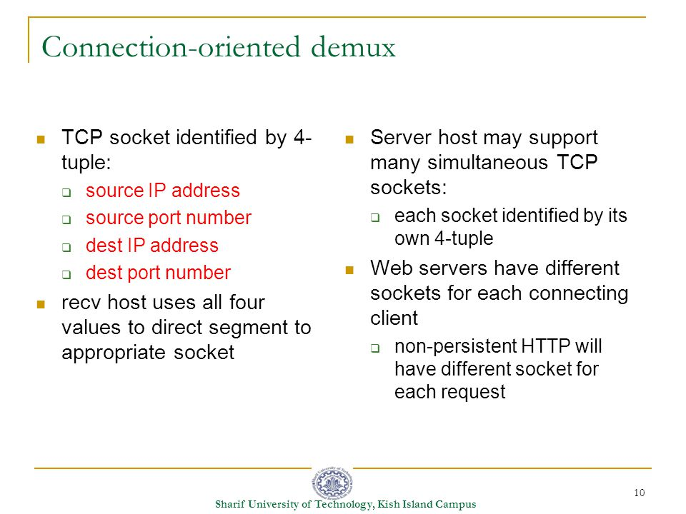 10 Sharif University of Technology, Kish Island Campus Connection-oriented demux TCP socket identified by 4- tuple:  source IP address  source port number  dest IP address  dest port number recv host uses all four values to direct segment to appropriate socket Server host may support many simultaneous TCP sockets:  each socket identified by its own 4-tuple Web servers have different sockets for each connecting client  non-persistent HTTP will have different socket for each request
