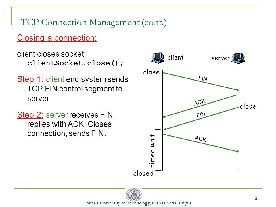 35 Sharif University of Technology, Kish Island Campus TCP Connection Management (cont.) Closing a connection: client closes socket: clientSocket.close(); Step 1: client end system sends TCP FIN control segment to server Step 2: server receives FIN, replies with ACK.