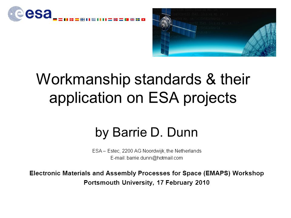 Workmanship standards & their application on ESA projects by Barrie D.