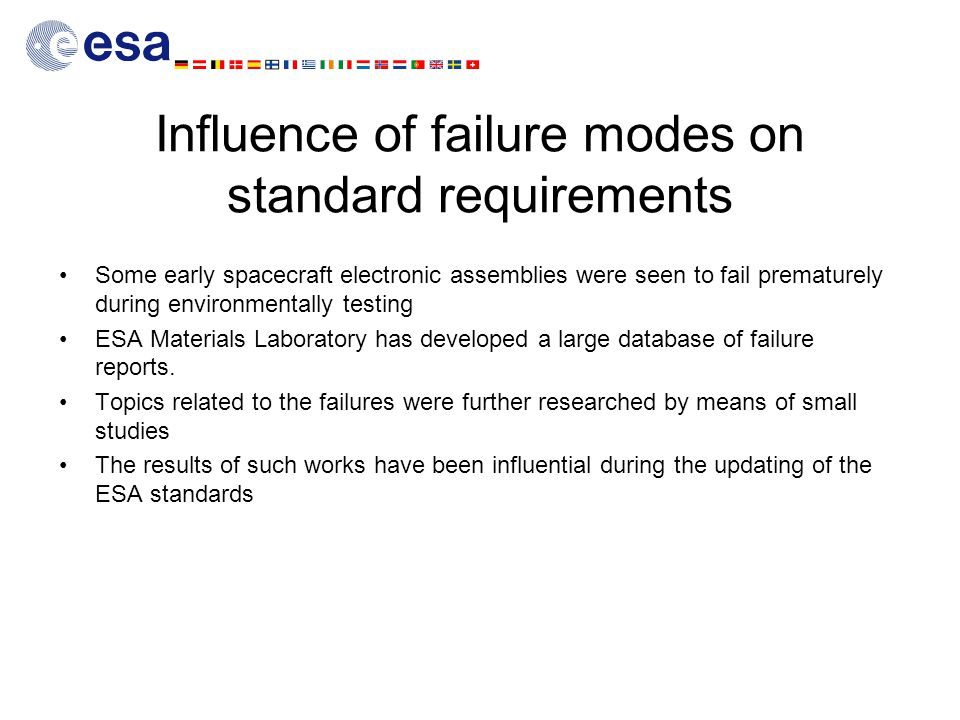 Influence of failure modes on standard requirements Some early spacecraft electronic assemblies were seen to fail prematurely during environmentally testing ESA Materials Laboratory has developed a large database of failure reports.