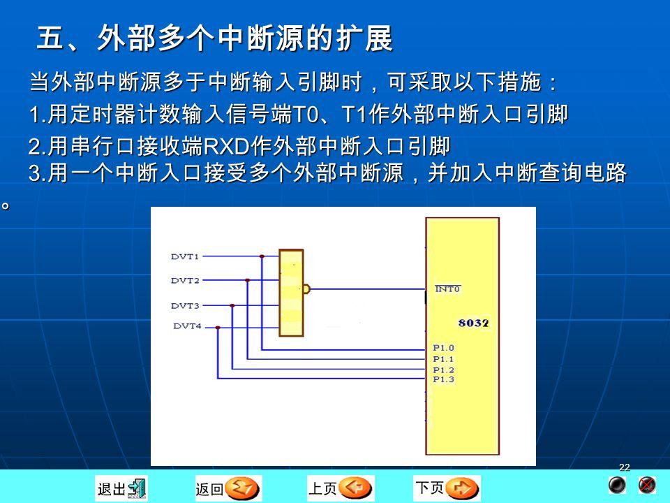 21 软件等待按键释放;硬件清除中断信号。 2) 使用电平触发:避免一次按键引起多次中断响应。 ORG 0000H ; AJMP MAIN ORG 0003H ;中断入口 AJMP PINT0 ORG 0100H ;主程序 MAIN : SETB EA ;开总允许开关 SETB EX0 ;开 INT0 中断 CLR IT0 ;低电平触发中断 Here : SJMP Here ;相当于执行其它 任务 ORG 0200H ;中断服务程序 PINT0 : CPL P1.0 ;改变 LED WAIT : JNB P3.2 , WAIT ;等按键释放 RETI ;返回主程序 单片机 INT0 P 1.0 1 +5V