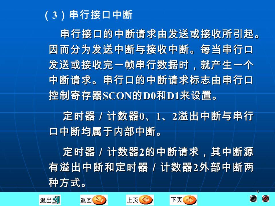 7 ( 2 )定时器/计数器 0 、 1 、 2 溢出中断 MCS - 51 有 3 个定时器/计数器,分别称为定时器/计数 器0(T0)、定时器/计数器1(T 1 )和定时器/计数 器 2 (T 2 )。 MCS - 51 有 3 个定时器/计数器,分别称为定时器/计数 器0(T0)、定时器/计数器1(T 1 )和定时器/计数 器 2 (T 2 )。 三个定时器/计数器既可作为定时器用,又可作为计数器 用,可编程设定。当作为定时器使用时,其中断信号取自内 部定时时钟,当作为计数器使用时,其中断请求信号取自 T 0( P3.4 )、 T1 ( P3.5 )和 T2 ( P1.0 )、 T2EX ( P1.1 )引 脚。启动 T0 、 T1 或 T2 后,每来一个时钟脉冲或在引脚上每 检测到一个脉冲信号,计数器就加 1 一次,当计数器的值由 全 1 变为全 0 时或当 T2EX 引脚有负跳变产生时(必须 EXEN2=1 )就会向 CPU 申请中断。 三个定时器/计数器既可作为定时器用,又可作为计数器 用,可编程设定。当作为定时器使用时,其中断信号取自内 部定时时钟,当作为计数器使用时,其中断请求信号取自 T 0( P3.4 )、 T1 ( P3.5 )和 T2 ( P1.0 )、 T2EX ( P1.1 )引 脚。启动 T0 、 T1 或 T2 后,每来一个时钟脉冲或在引脚上每 检测到一个脉冲信号,计数器就加 1 一次,当计数器的值由 全 1 变为全 0 时或当 T2EX 引脚有负跳变产生时(必须 EXEN2=1 )就会向 CPU 申请中断。