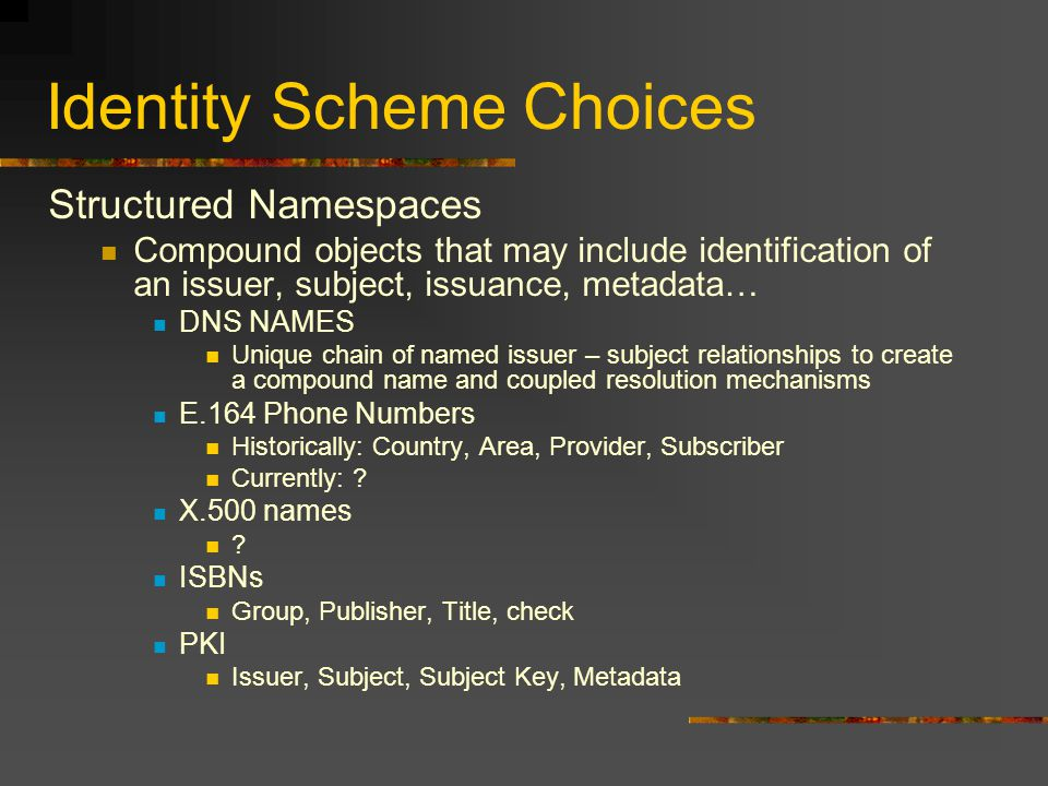 Identity Scheme Choices Structured Namespaces Compound objects that may include identification of an issuer, subject, issuance, metadata… DNS NAMES Un