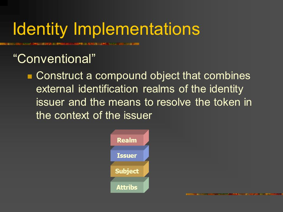 """Identity Implementations """"Conventional"""" Construct a compound object that combines external identification realms of the identity issuer and the means"""
