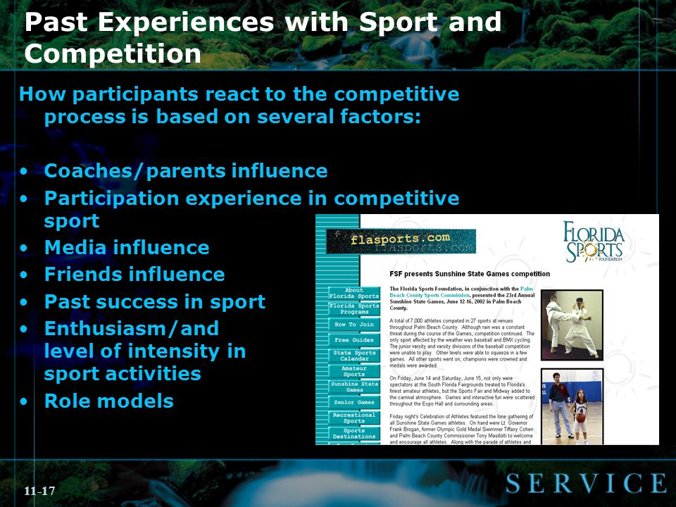 11-17 Past Experiences with Sport and Competition How participants react to the competitive process is based on several factors: Coaches/parents influence Participation experience in competitive sport Media influence Friends influence Past success in sport Enthusiasm/and level of intensity in sport activities Role models