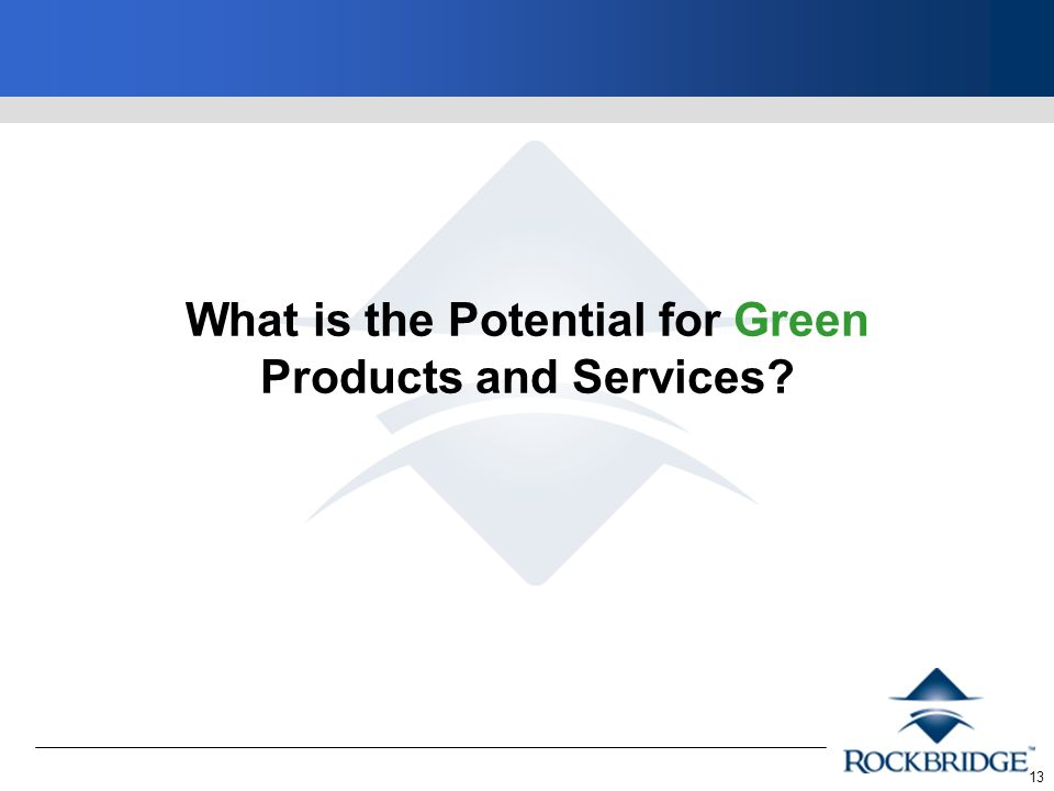13 What is the Potential for Green Products and Services