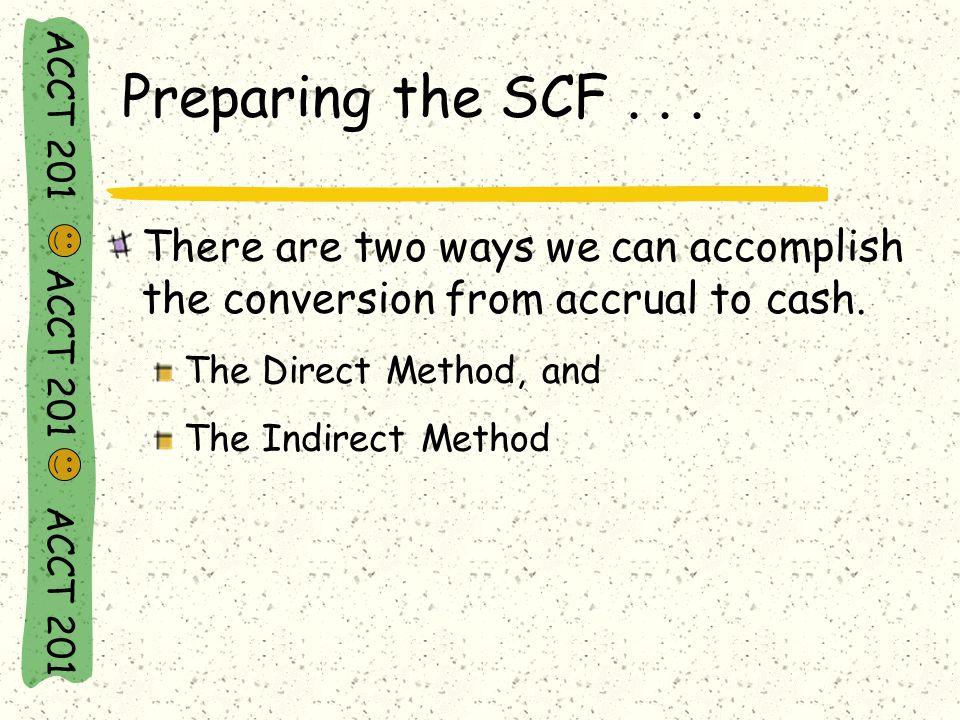 ACCT 201 ACCT 201 ACCT 201 Preparing the SCF...