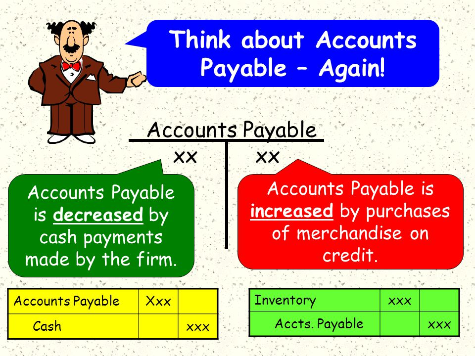 Accounts Payable is decreased by cash payments made by the firm.