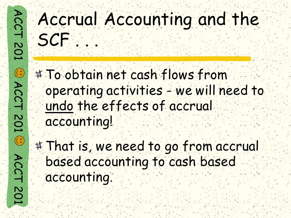 The Direct Method ACCT 201 ACCT 201 ACCT 201 Accrual Based Accounting Cash Based Accounting ending in a net source or use of funds.