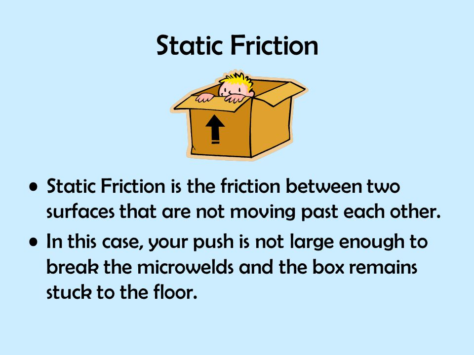 Static Friction Static Friction is the friction between two surfaces that are not moving past each other. In this case, your push is not large enough