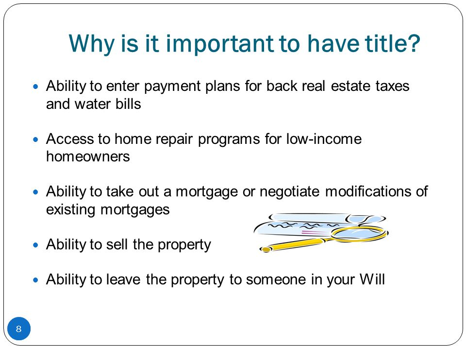 9 What is a tangled title and why is probate important Tangled Title is a phrase used to describe problems related to legal ownership of real estate.