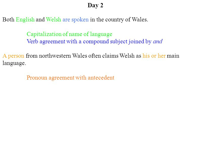 Day 2 Both English and Welsh are spoken in the country of Wales.