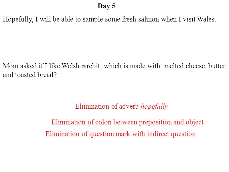 Day 5 Elimination of adverb hopefully Elimination of colon between preposition and object Elimination of question mark with indirect question Hopefully, I will be able to sample some fresh salmon when I visit Wales.