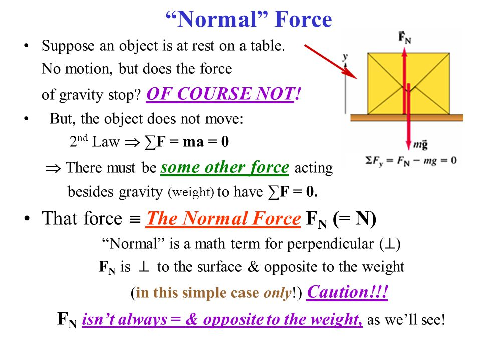 Normal Force Suppose an object is at rest on a table.