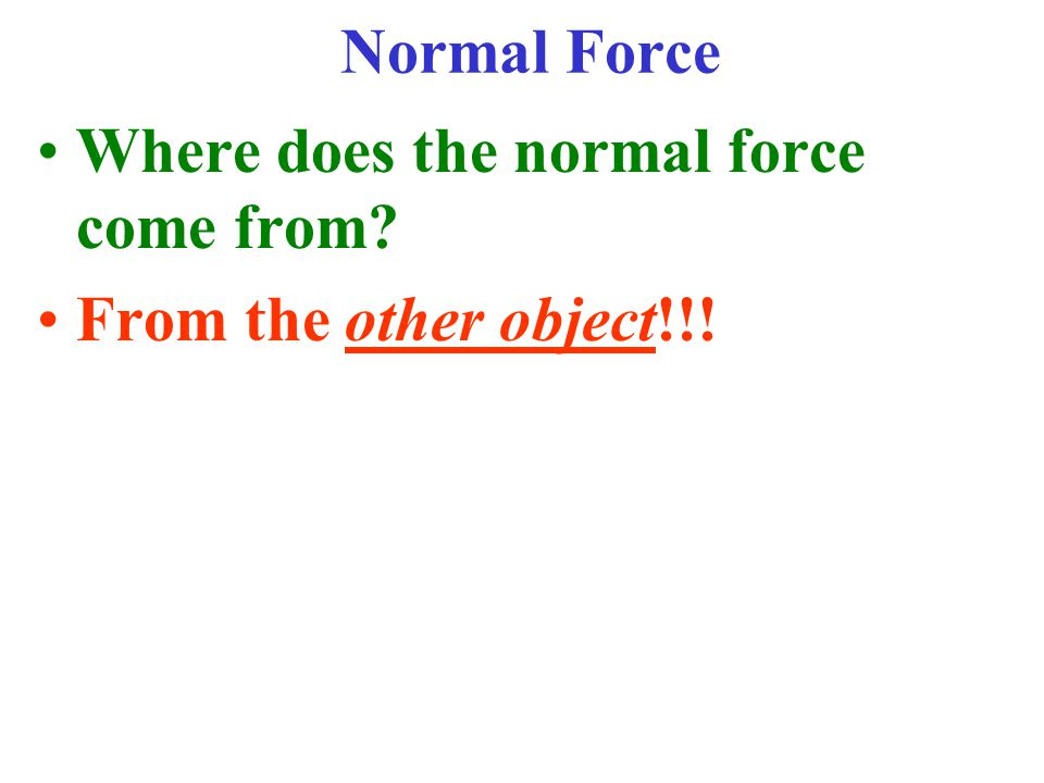 Normal Force Where does the normal force come from From the other object!!!