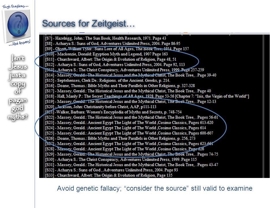 Sources for Zeitgeist… Avoid genetic fallacy; consider the source still valid to examine