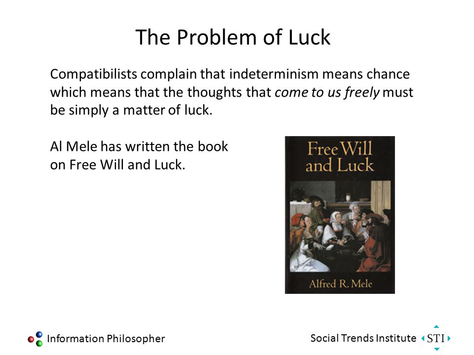 Information Philosopher Social Trends Institute The Problem of Luck Compatibilists complain that indeterminism means chance which means that the thoug