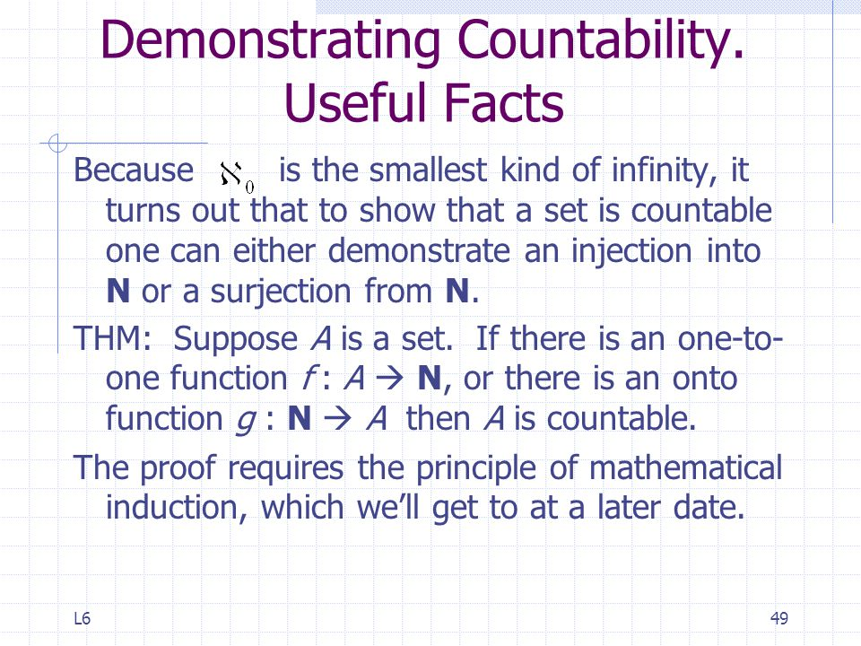 L649 Demonstrating Countability.