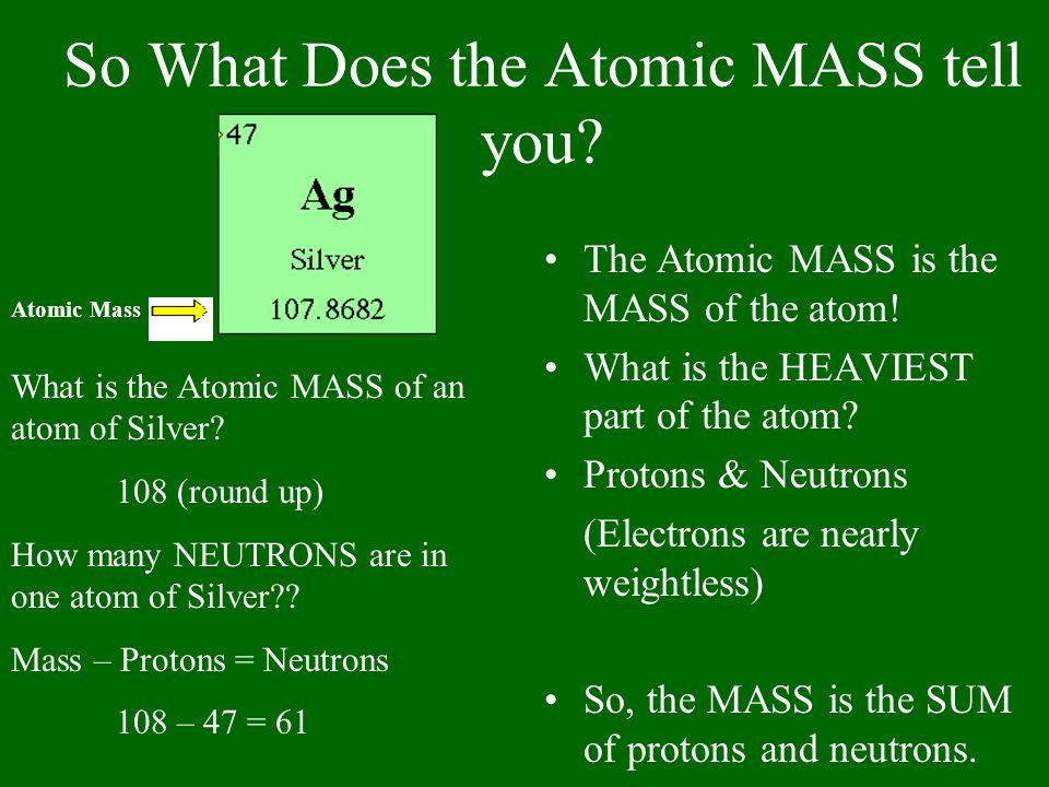 So What Does the Atomic MASS tell you? The Atomic MASS is the MASS of the atom! What is the HEAVIEST part of the atom? Protons & Neutrons (Electrons a