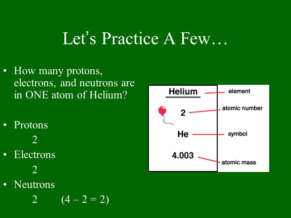 Let's Practice A Few… How many protons, electrons, and neutrons are in ONE atom of Helium.