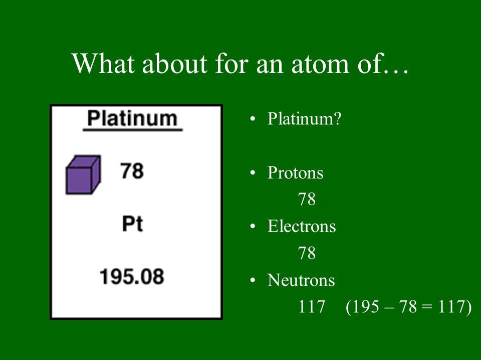 What about for an atom of… Platinum? Protons 78 Electrons 78 Neutrons 117(195 – 78 = 117)
