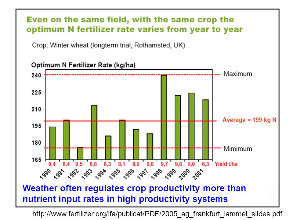http://www.fertilizer.org/ifa/publicat/PDF/2005_ag_frankfurt_lammel_slides.pdf Weather often regulates crop productivity more than nutrient input rates in high productivity systems
