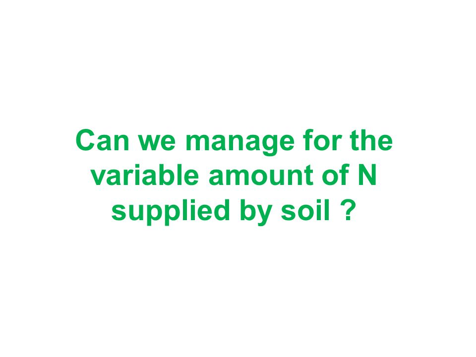 Can we manage for the variable amount of N supplied by soil