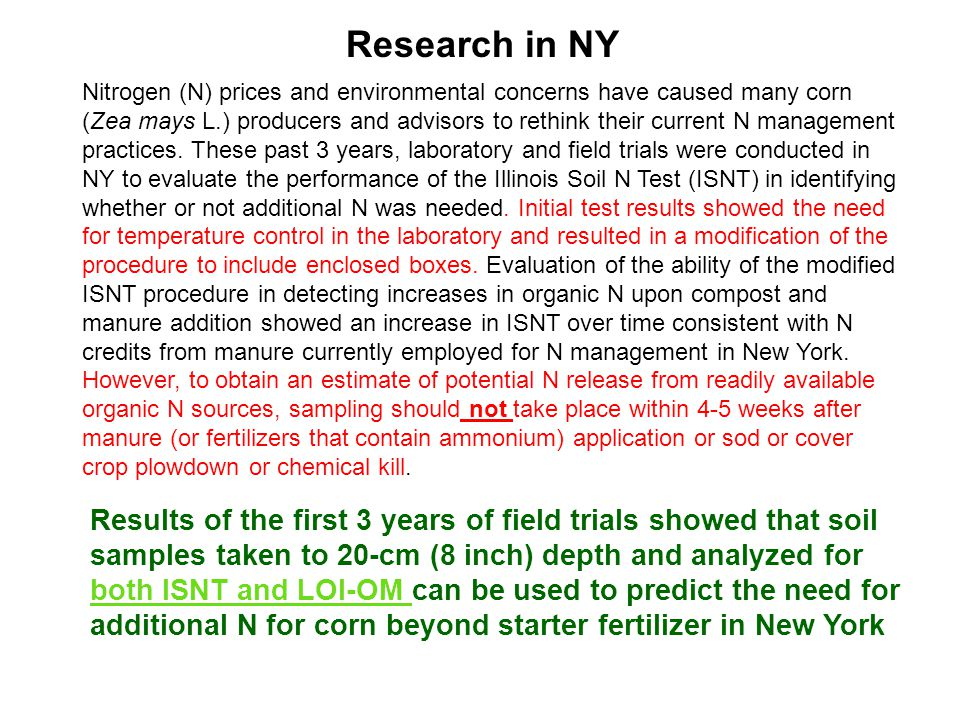 Nitrogen (N) prices and environmental concerns have caused many corn (Zea mays L.) producers and advisors to rethink their current N management practices.