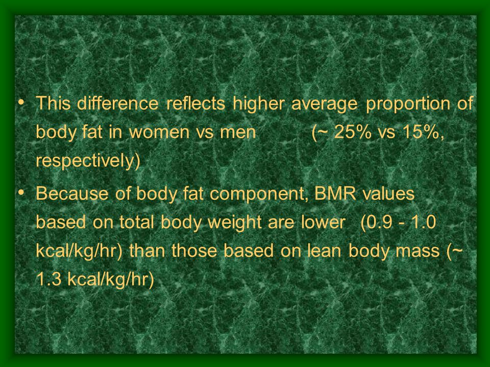 This difference reflects higher average proportion of body fat in women vs men (~ 25% vs 15%, respectively) Because of body fat component, BMR values based on total body weight are lower (0.9 - 1.0 kcal/kg/hr) than those based on lean body mass (~ 1.3 kcal/kg/hr)