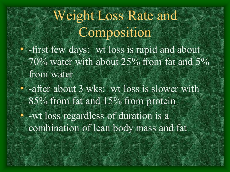 Weight Loss Rate and Composition -first few days: wt loss is rapid and about 70% water with about 25% from fat and 5% from water -after about 3 wks: wt loss is slower with 85% from fat and 15% from protein -wt loss regardless of duration is a combination of lean body mass and fat