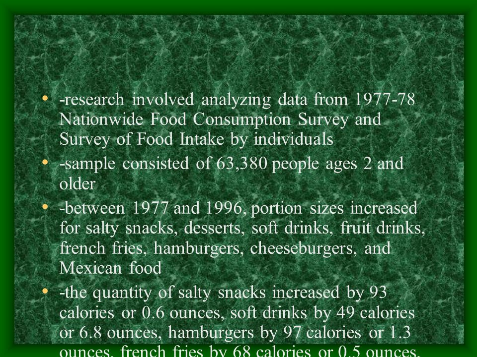 -research involved analyzing data from 1977-78 Nationwide Food Consumption Survey and Survey of Food Intake by individuals -sample consisted of 63,380 people ages 2 and older -between 1977 and 1996, portion sizes increased for salty snacks, desserts, soft drinks, fruit drinks, french fries, hamburgers, cheeseburgers, and Mexican food -the quantity of salty snacks increased by 93 calories or 0.6 ounces, soft drinks by 49 calories or 6.8 ounces, hamburgers by 97 calories or 1.3 ounces, french fries by 68 calories or 0.5 ounces, and Mexican food by 133 calories or 1.7 ounces