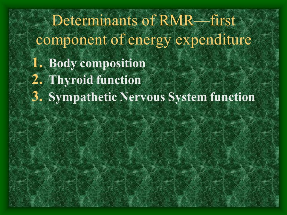 The Role of the SNS in Energy Balance Drug Effects SNS stimulation (  3 -agonists, terbutaline) increase RMR SNS inhibition (  and  -blockers, propranolol) have no effect on RMR