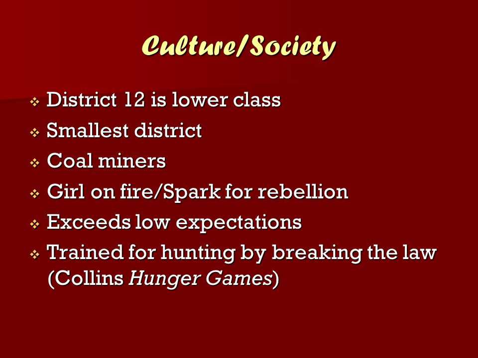 Culture/Society  District 12 is lower class  Smallest district  Coal miners  Girl on fire/Spark for rebellion  Exceeds low expectations  Trained