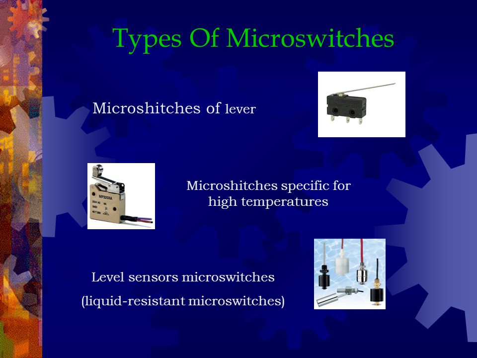 Types Of Microswitches Microshitches of lever Microshitches specific for high temperatures Level sensors microswitches (liquid-resistant microswitches