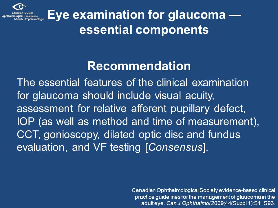 Eye examination for glaucoma — essential components Recommendation The essential features of the clinical examination for glaucoma should include visual acuity, assessment for relative afferent pupillary defect, IOP (as well as method and time of measurement), CCT, gonioscopy, dilated optic disc and fundus evaluation, and VF testing [Consensus].