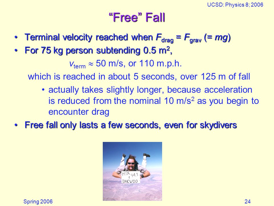 Spring 2006 UCSD: Physics 8; 2006 24 Free Fall Terminal velocity reached when F drag = F grav (= mg)Terminal velocity reached when F drag = F grav (= mg) For 75 kg person subtending 0.5 m 2,For 75 kg person subtending 0.5 m 2, v term  50 m/s, or 110 m.p.h.